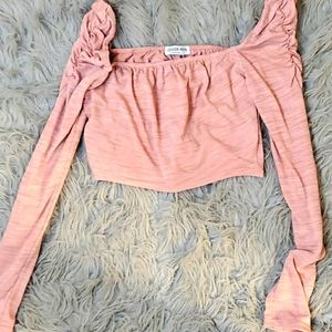 Pink long sleeve Fashionnova crop Top